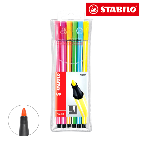 STABILO Color Pen 68, 6PCS NEON 6806-1