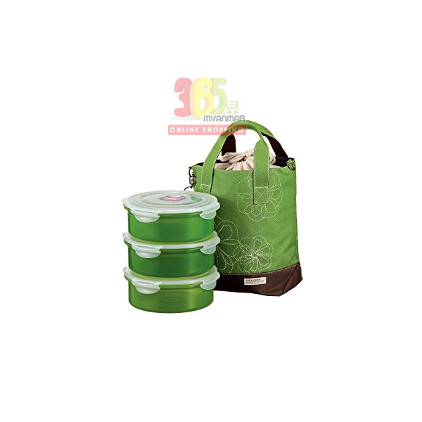LOCK & LOCK ROUND LUNCH BOX HSM951S (GREEN)