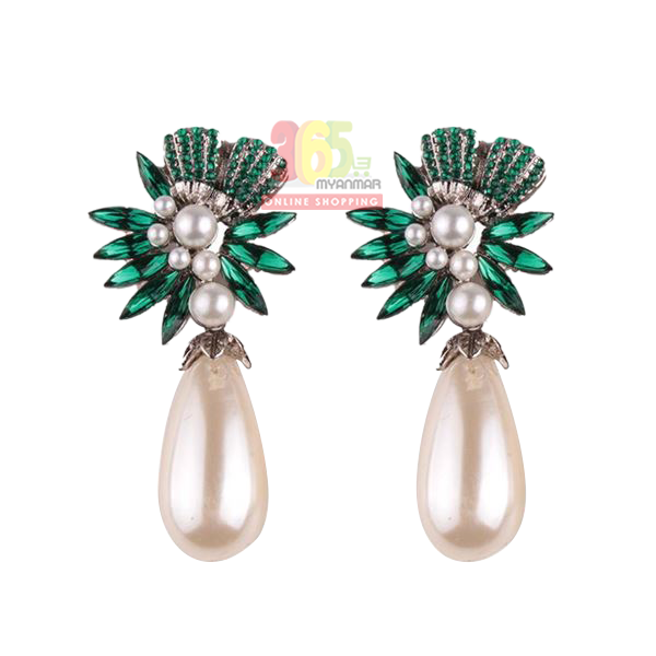 Nadaung Alloy Diamond Earrings, (ND-ADE064) Gree