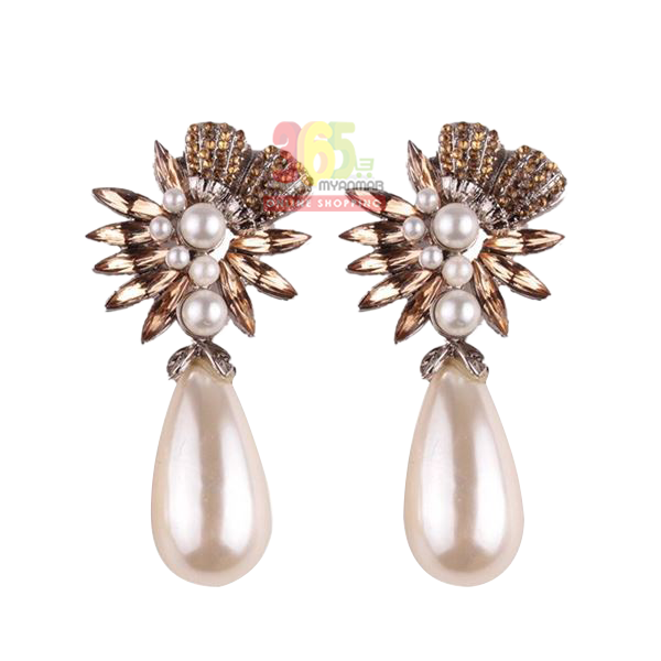 Nadaung Alloy Diamond Earrings, (ND-ADE066) Gold