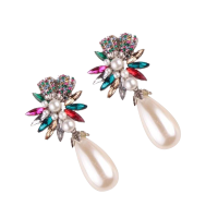 Nadaung Alloy Diamond Earrings, (ND-ADE067) Colo